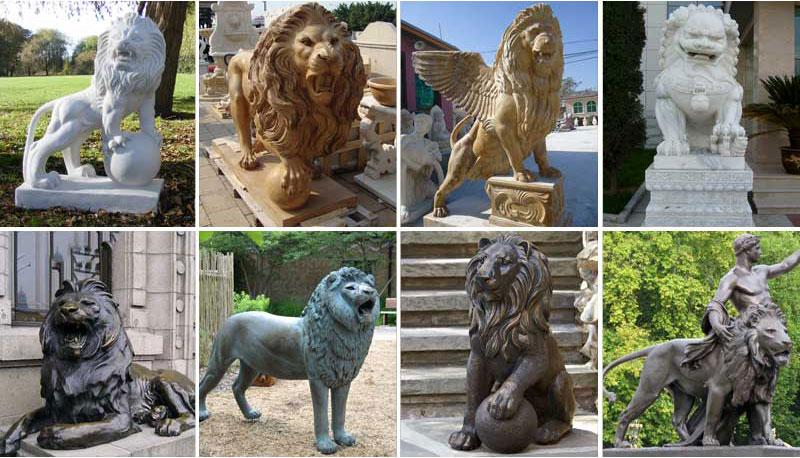 Garden natural marble lion animal stone sculptures