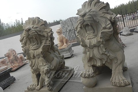 Classic outdoor natural modern white marble Lion Statues