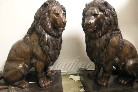 Decoration antique life size bronze lion sculptures for sale
