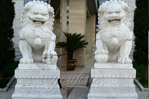Decoration carving large white marble stone foo dogs outdoor for sale