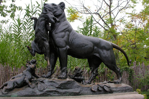 Factory supplied antique life size cast bronze lion sculptures for garden decoration