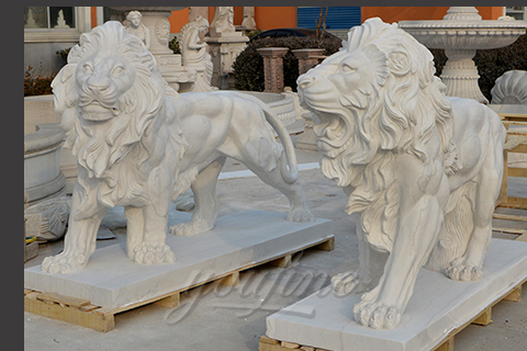 Garden natural marble lion animal stone sculptures for decoration
