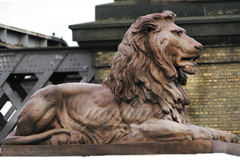 Garden sitting life size bronze lion sculpture for park