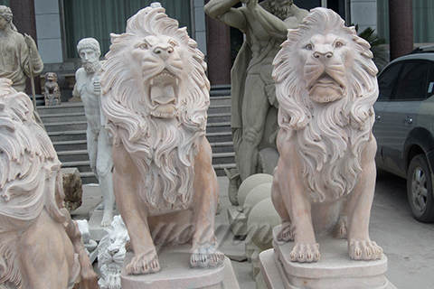 Decorative large outdoor strong marble lion statues for garden