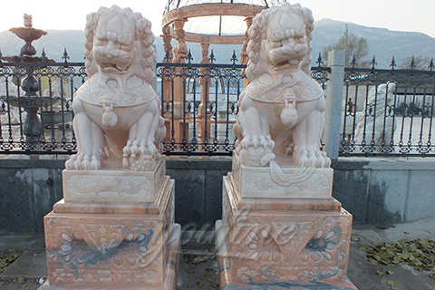 Marble stone hot sale hand carving chinese foo dog for gate