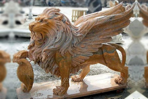 Outdoor winged natural marble lion statue for garden ornaments