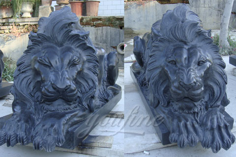 Sleeping marble black lion statues animal sculptures for sale