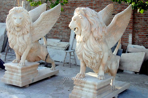 Winged white natural marble lion statue for sale