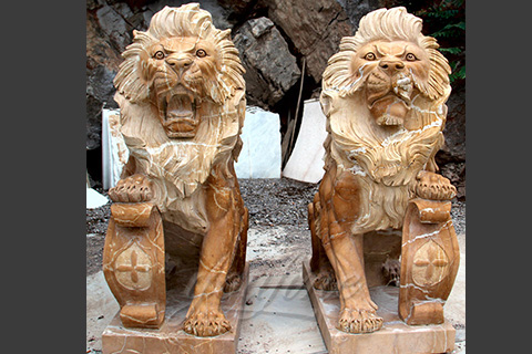 Yellow marble lion statues for decoration