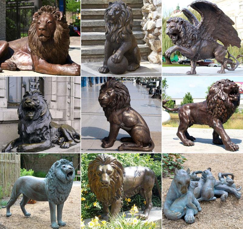 life size bronze lion statue