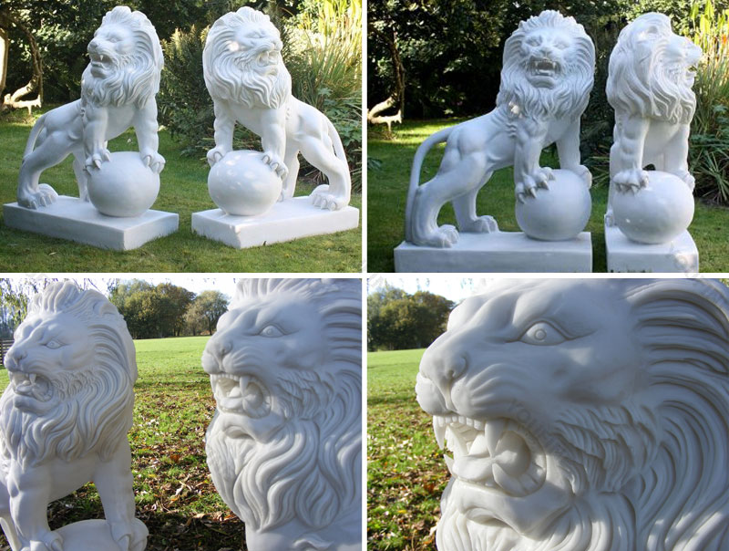 western marble lion statue for sale