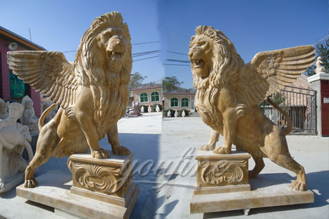 Big roaring winged lion statues in pairs for front porch on sale