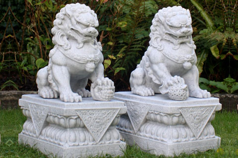 Chinese fu dogs lion statues pair in front of house