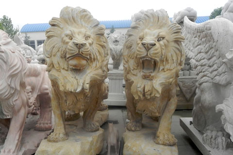 Concrete stone roaring lion statues in pairs for lawn ornaments