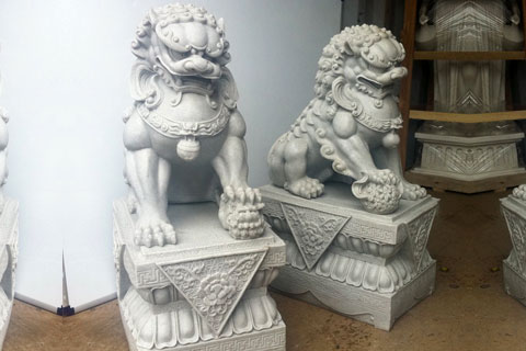 Fu dogs lion statues pair for front porch