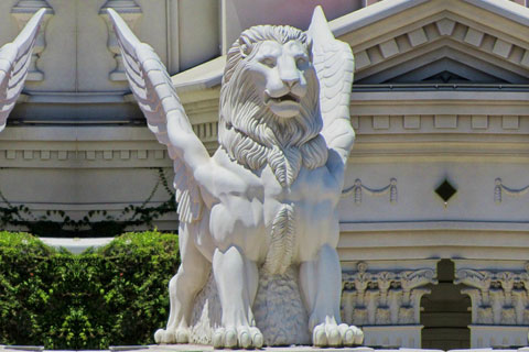 White concrete marble winged lion statues for front porch