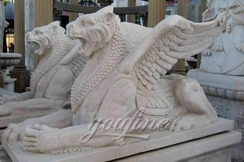 Winged Stone Lion Statues Pair For Garden Ornaments On Discount Sale