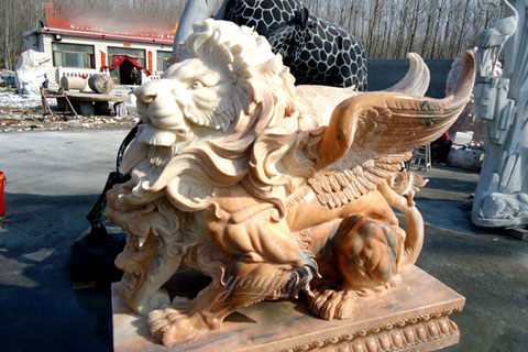 New Design yellow stone winged lion statue for sale