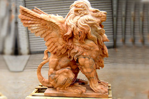 Winged natural stone lion statue for outdoor lawn ornaments for sale